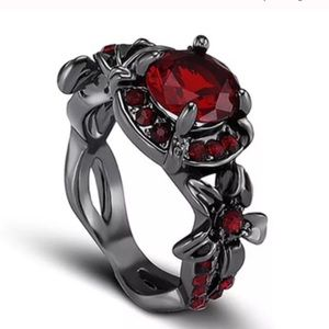 Beautiful red on black floral ring
